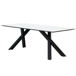 Tavolo fisso GUSTAVE di Miniforms. Tavolo con gambe incrociate in metallo e piano disponibile in diverse finiture. Gustave riempie l'ambiente e stupisce come soltanto lui è in grado di fare