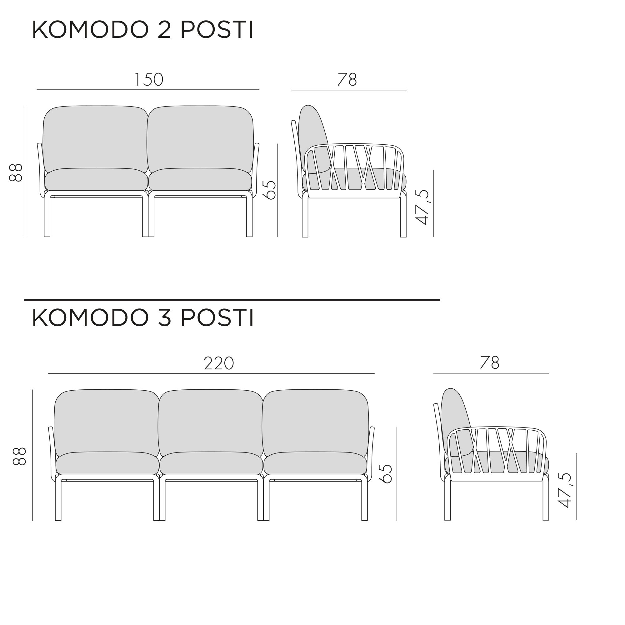 Komodo divano lineare divani lineari divani e poltrone for Divano 5 posti lineare