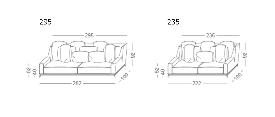 Opera linear sofas vibieffe - Altezza schienale divano ...