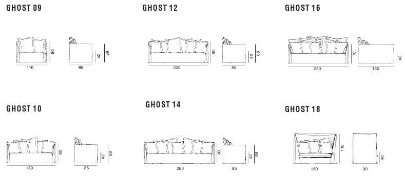 Ghost divani lineari gervasoni for Misure divani