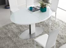 THESIS OVAL TABLE (opal white tempered frosted glass / matt optic white lateral finish)